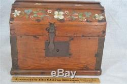 Box trunk dome top early wooden hand made antique small 12 doll 1800