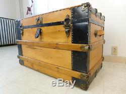 CLEAN Completely Restored Antique 1890s Steamship Wood Slat Luggage Trunk w Tray