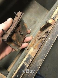 Carpenters Tool Box Chest Trunk Wood Diamond Carving Vintage Antique Industrial