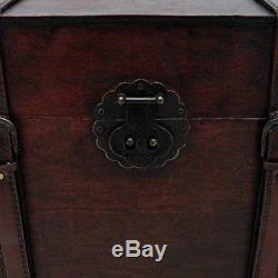 Chest Travel Trunk Wooden Steamer Vintage Top Box Handle Flat