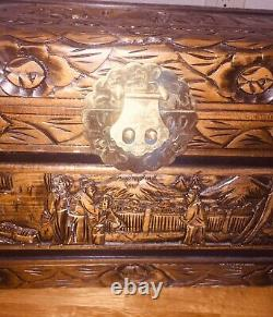 Chinese/Asian Hand Carved ANTIQUE WOODEN Chest/Trunk 27 In. Long 14.50 Height