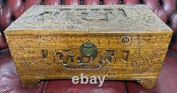 Chinese / Asian Hand Carved Antique Solid Wooden 30.5 Chest Trunk Box
