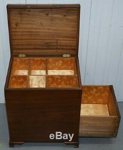 Circa 1920 Chinese Camphor Wood Travelling Trunk Silk Lined Multi Compartments