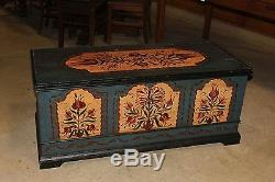 Clyde Stacks German Tole Paint Folk Art Wood Immigrant Trunk Chest Palmya PA OLD
