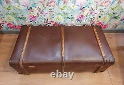 Danish Antique Vintage Bentwood Steamer Trunk Storage Chest Coffee Table Tray