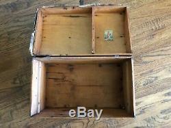 Doll Trunk Breadloaf Dome Style Salesmans Sample Circa 1880 Wood Wooden