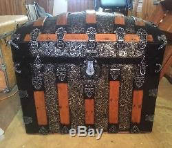 Dome Top Camel Top Steamer Trunk Silver Wood Pottery Barn Ornamental Restored
