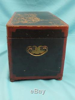 ELABORATE ANTIQUE LATE 19 c LACQUER CHINESE WOOD TRUNK CHEST