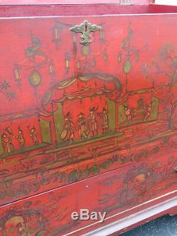 Early 1900s Oriental Hand Painted Large Chest Trunk 9012