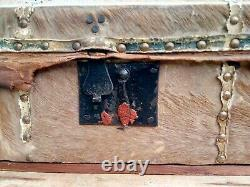 Early 19th Century horsehair/rawhide trunk/box with brass tacks, W. Spencer, NYC