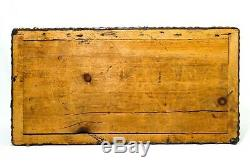 Early-mid 19th C Antique Leather Wrapped Studded, Wallpaper Lined Sm Wood Trunk