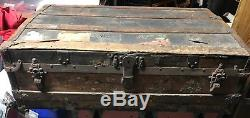 Empire Circa 1880 Crouch & Fitzgerald Antique Traveling Trunk chest New York