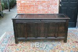 English Dark Oak Wood Large Antique Top Lift Chest Trunk Box with Storage