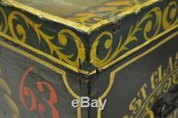 English Nautical Green Painted Taitsing Ship Blanket Chest Treasure Chest Trunk