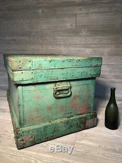 English Strongbox Trunk. Enormous! Stepped storage shelves inside. 1800s
