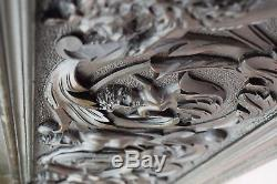 Exceptionnal Large 17th. C Hand Carved Wood Panel Pediment Wedding Trunk