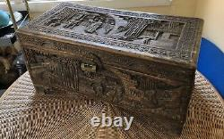 Exquisite Old Estate Hand-Carved Chinese Wood Trunk See Photos Impressive