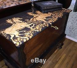Flat Top ANTIQUE Hope Gothic CHEST Steamer Trunk Marquetry Wood Lock Key Cabinet