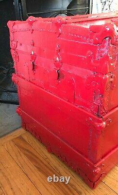 Flat Top Steamer Trunk Antique Vintage Flat Top Trunk Coffee Table Movie Prop