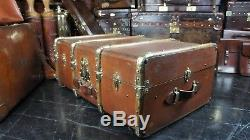 French Antique Banded Cabin Trunk With Brass Fittings