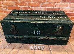 French Antique Rustic Pine Chest Painted Green Steamer Storage Trunk Box
