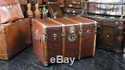 French Antique Wood Banded Steamer Trunk Chest