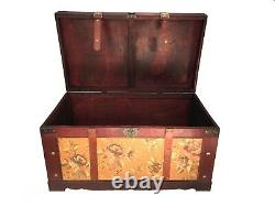 Golden Leaves Large Wood Storage Trunk Wooden Hope Chest