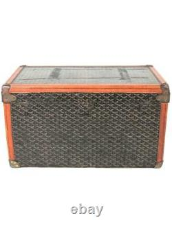 Goyard Antique Monogram Leather Trunk with Initials SWC Luggage Authentic