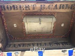 Haskell Brothers ANTIQUE STEAMER TRUNK VINTAGE FLAT TOP LARGE SOLID WOOD CHEST