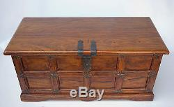 Hope Chest Bedroom Storage Trunk Wood Blanket Bench Antique Vintage Teak Box