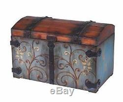 Hope Chest Steamer Trunk Bench Distressed Metal Vintage Antique Blue Wood Dome