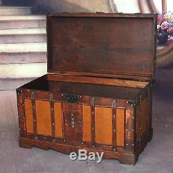 Hope Treasure Trunk Chest Dark Red Storage Trunk Bench Wood Large Antique Style