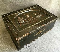 Huge antique french Napoleon III box trunk wood brass 19th century religious