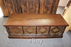 INDIAN TRUNK Blanket Chest STORAGE ECLECTIC Bench CARVED Brass MOROCCAN MOGUL