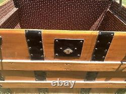 Immaculate Antique Metal/Wood Camelback Steamer Trunk