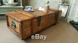 Industrial Vintage Army Rustic Trunk Chest Coffee Table Blanket box TVST