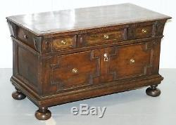 Jacobean Circa 1600 James VI Solid Wood Hand Carved Trunk Chest Blanket Box