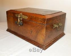 LARGE antique 1800s handmade burl wood brass eastlake aesthetic box casket trunk