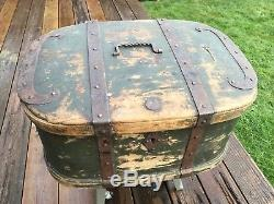Large 18th Century Primitive Bentwood Chest, Trunk, Forged Iron Straps, 1760