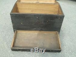Large Antique 19th Century Japanese Wood Travel Trunk Chest Box With Drawer
