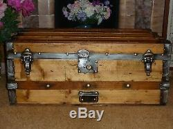 Large Antique Fully Restored Travel Trunk Chest Pirate Vintage Lovley Clean
