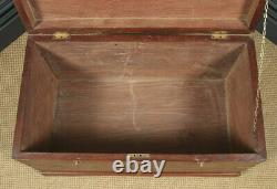 Large Antique Victorian Anglo Indian Colonial Campaign Teak & Brass Chest Trunk