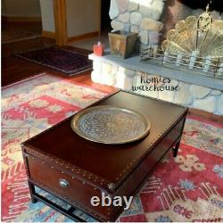 Large Rustic Chest Coffee Table Wood Metal Antique Style Travel Trunk Furniture