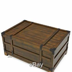 Large Storage Trunk Coffee Table Wood Chest Bed Box Accent Rustic Vintage Style