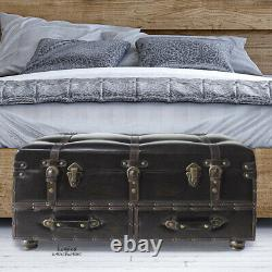 Large Treasure Chest Steamer Trunk Antiqued Coffee Table Bench Multi Storage Box