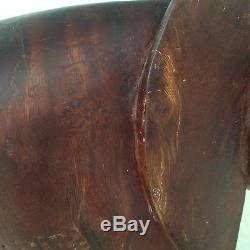 Large Vintage African Elephant Carving With Upturned Trunk 19 High