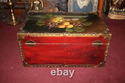 Large Vintage Style Wood Metal Storage Trunk Chest Painted Fruit Grapes