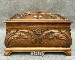 Large antique black forest box trunk made of wood mid-1900's czech woodwork