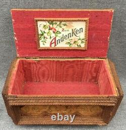 Large antique black forest wedding box trunk made of wood early 1900's Germany