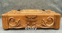 Large antique french folk art box trunk wood 1960-70's carving woodwork signed